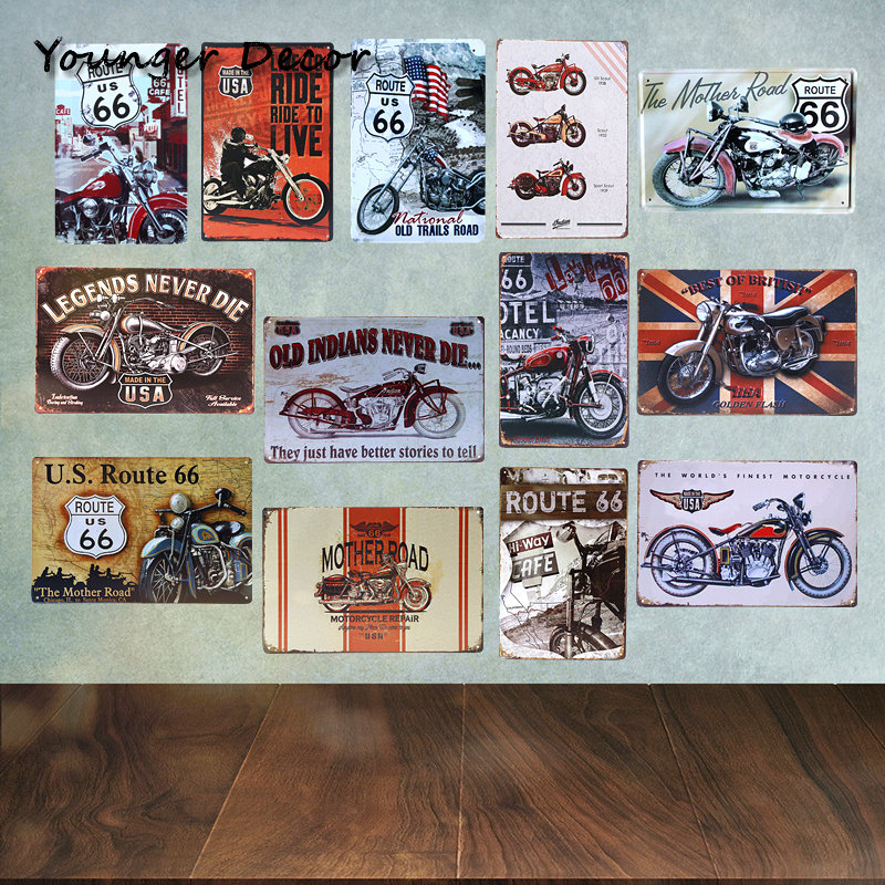 20x30cm USA Motor Metal Signs Route 66 Mother Road Tin Poster Bar Garage Club Barn Parlor Bedroom Plaques Home Wall Decor YA066