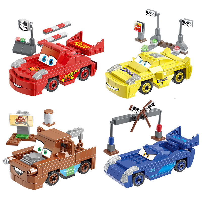 150pcs Disney Pixar Cars 3 Block Figure Lightning McQueen Mater Building Set Assembly Brain Game Birthday Gift Children Toy