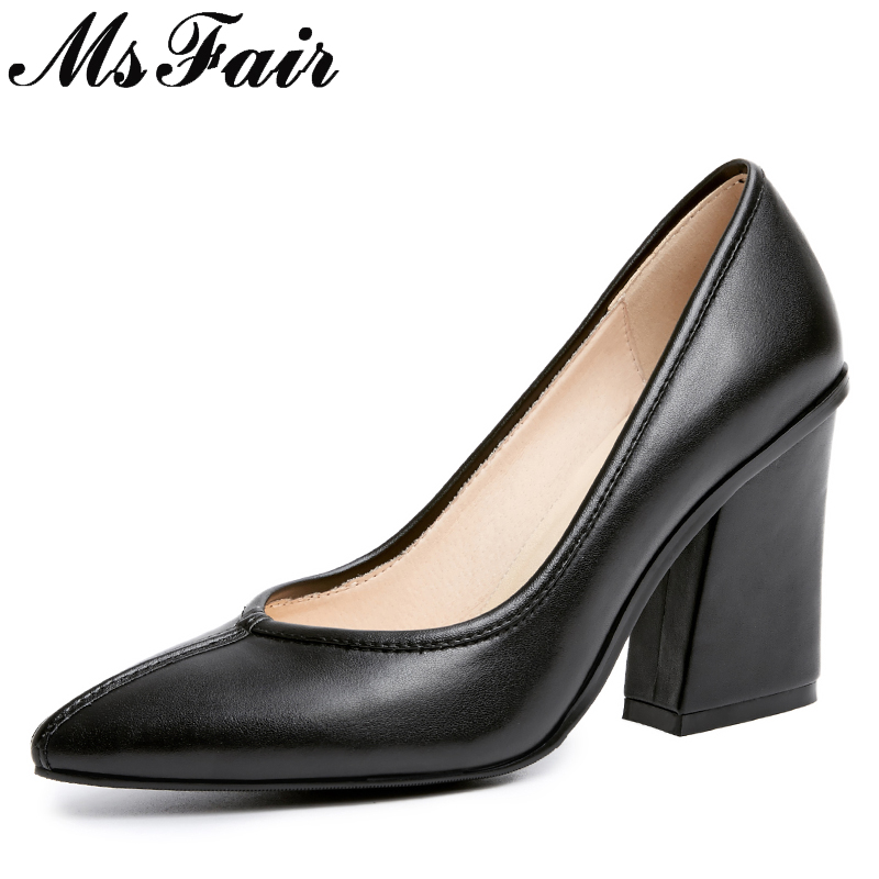 MSFAIR Pointed Toe High Heels Women Pumps Sexy Genuine Leather Square heel Pumps Women Shoes Zapatos Mujer High heel Pumps S hanbaidi sexy patent leather women pumps luxury rhinestone pointed toe buckle strap women high heel sansals sandalias mujer 2018