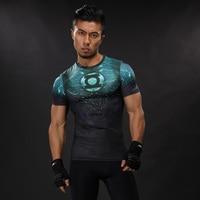 2017 New Green Lantern Superhero Iron Man T Shirts Compression Shirt 3D Short Sleeve T Shirt