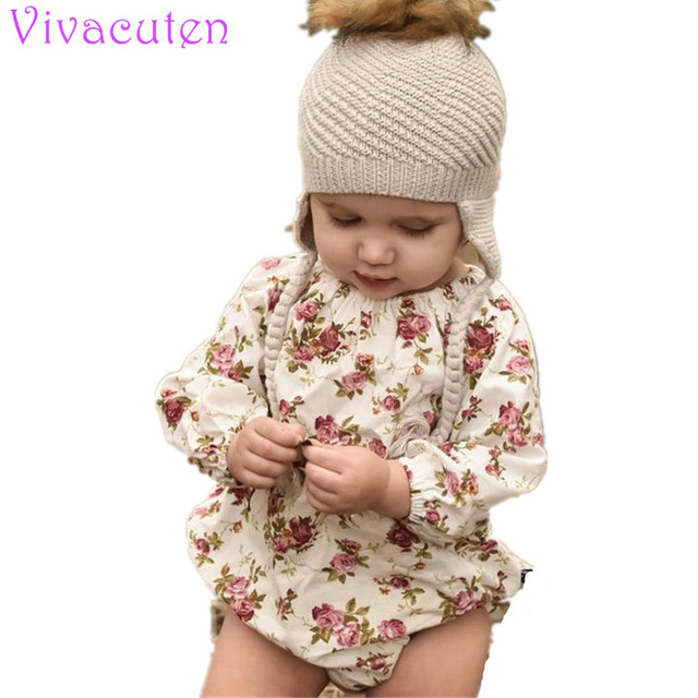 40a12d075 2018 new Baby Rompers Newborn Baby Girl Floral Long Sleeve Romper ...