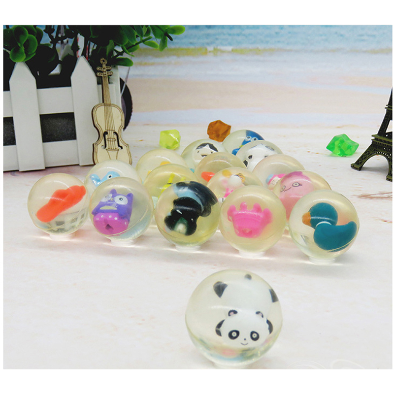 10pcs Children Toy Ball Colored Bouncing Ball Rubber Outdoor Toys Kids Sport Games Elastic Doll Animals Juggling Jumping Balls