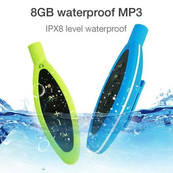 8GB IP68 Waterproof MP3 Player Hi-Fi Audio Player Lossless Music Support FM Radio for Swimming Surfing Shower