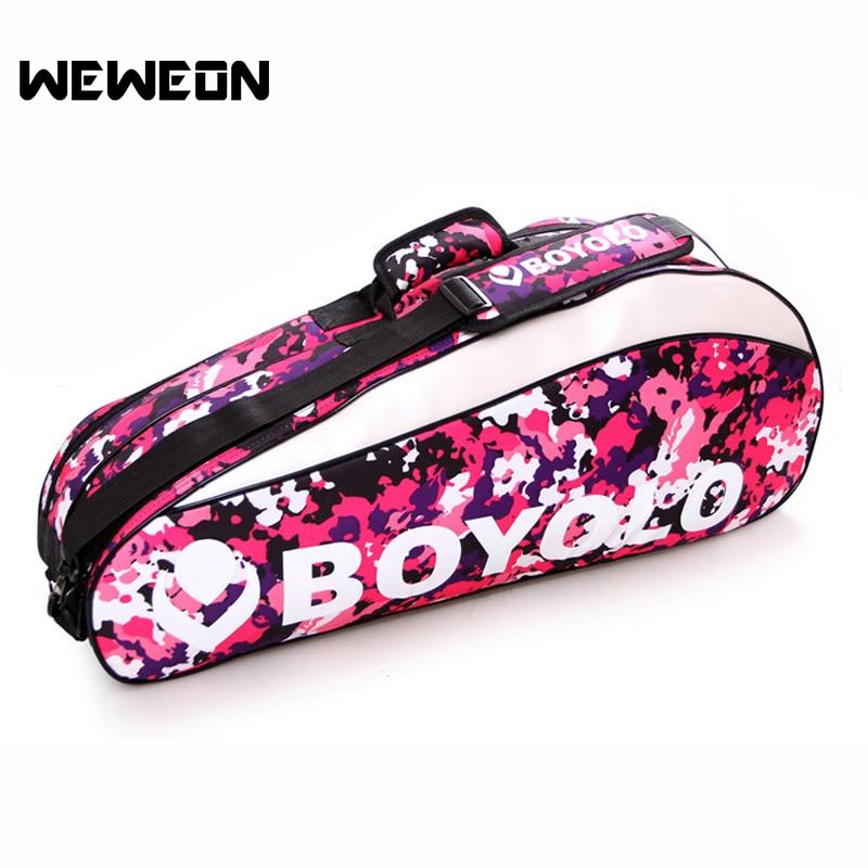 Double pocket 1 2Pcs Tennis Bags 3 6 Pcs Badminton Bags PU leather Racquet Sports Backpack Colorful Camuflage Accessories