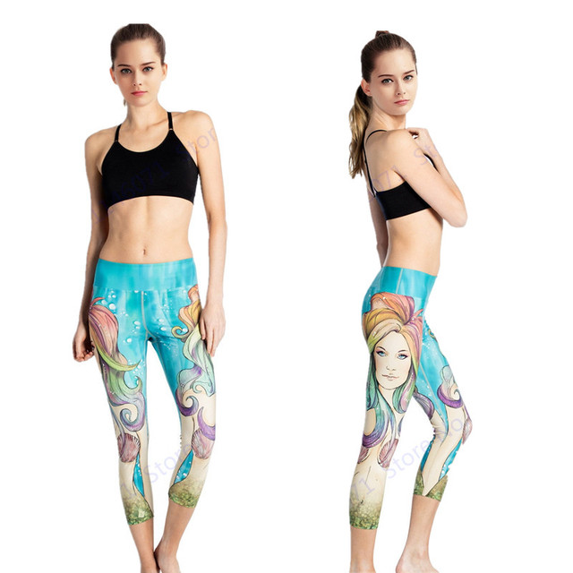 7942fc69e332f Dry Fit Mermaid Running Capri Pants Sky Blue Compression Yoga Capris  Leggings Super Stretchy High Waist Sports Dance Tights Lady