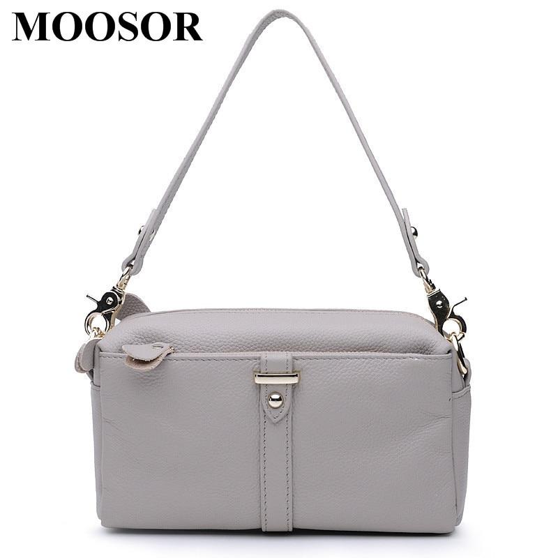 Фотография 2018 New Genuine Leather Women Bags Crossbody Bags High Quality 6 Colors Fashion Female Shoulder Bags Zipper Handbags HB19
