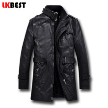 2017 мужчины длинные кожаные куртки зимние черные теплые мужские кожаные куртки и пальто мотоциклетная куртка повседневная марка одежды (PY06)