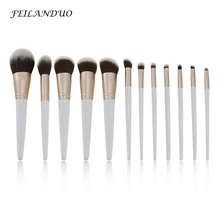 12Pcs/Lot Beauty Makeup Brushes Set Cosmetic Foundation Powder Blush Eye Shadow Lip Blend White Brush Tool Maquiagem