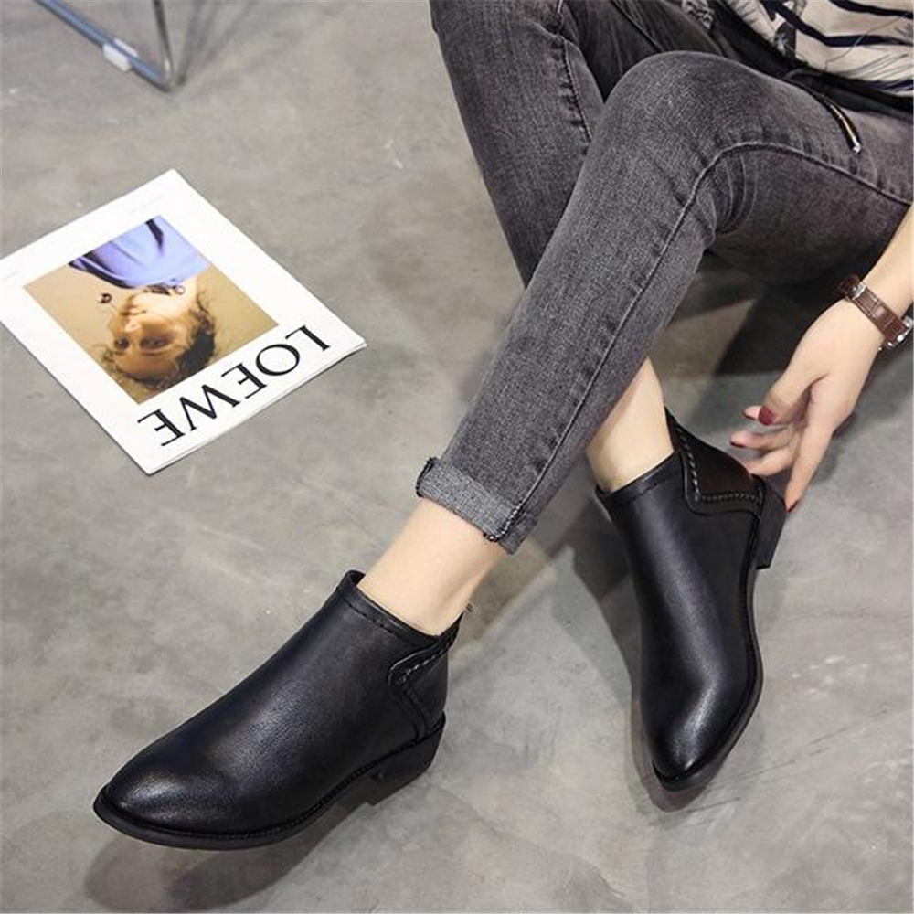 Image 3 - Spring and autumn ladies Martin boots British style low heel and ankle boots 2018 new retro Korean short bootsAnkle Boots   -
