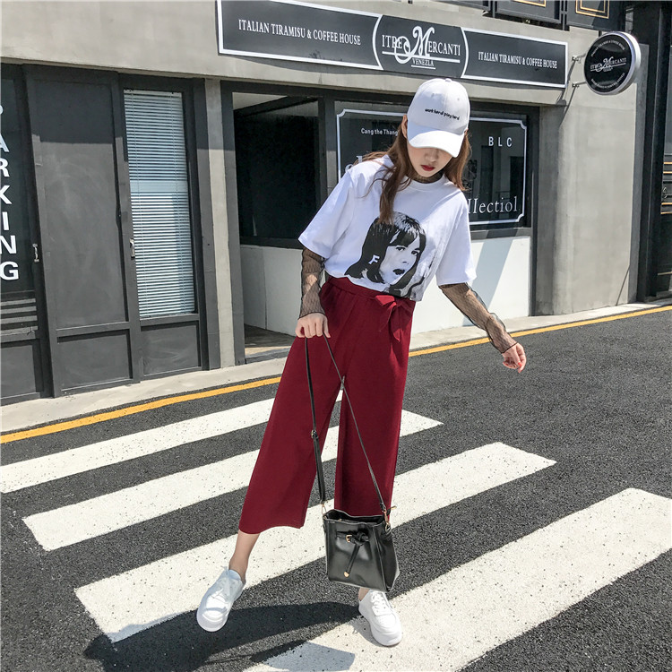 19 Women Casual Loose Wide Leg Pant Womens Elegant Fashion Preppy Style Trousers Female Pure Color Females New Palazzo Pants 61