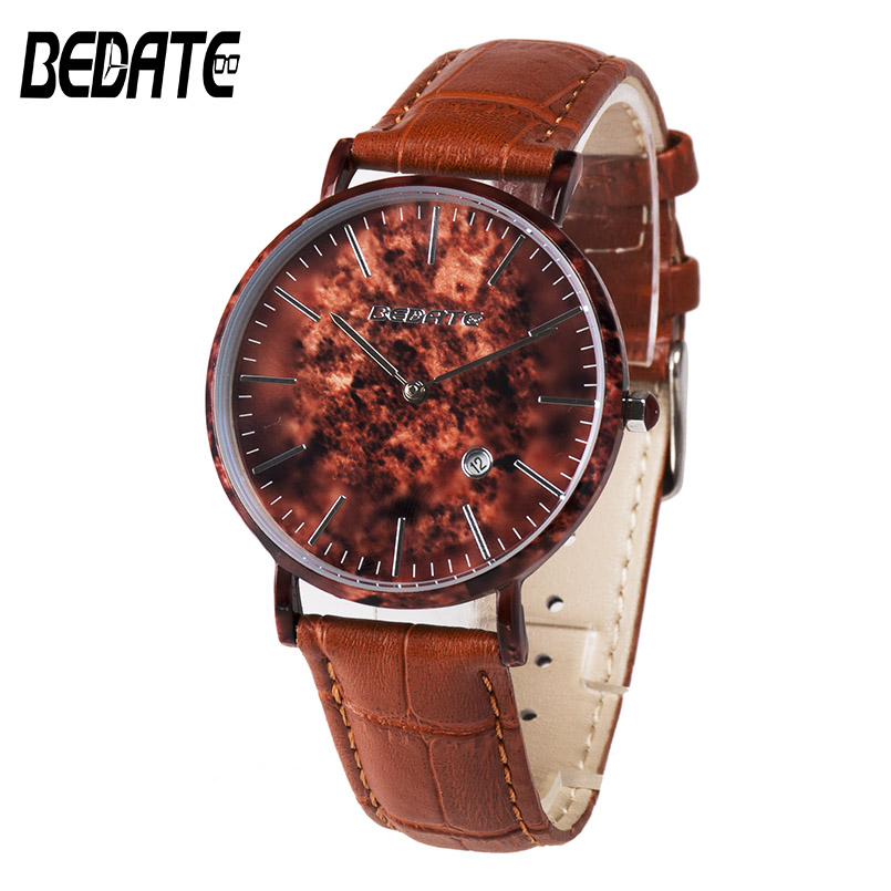 BEDATE Mens Red Leather Wood Watches With Band Display Fashion Wooden Wristwatches for Male Christmas Watches Gift 2017 1059AG high grade red leather wood fashion printting watches boxes
