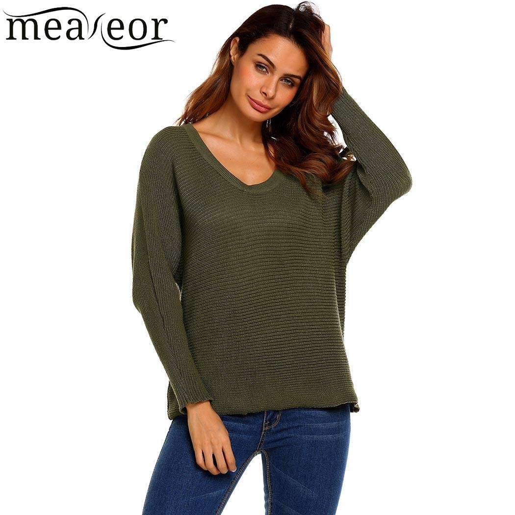 Meaneor 2017 New Autumn Women Basic Knitted Sweaters Long Sleeve O Neck Loose Pullover Solid Simple Casual Ladies Warm Sweaters