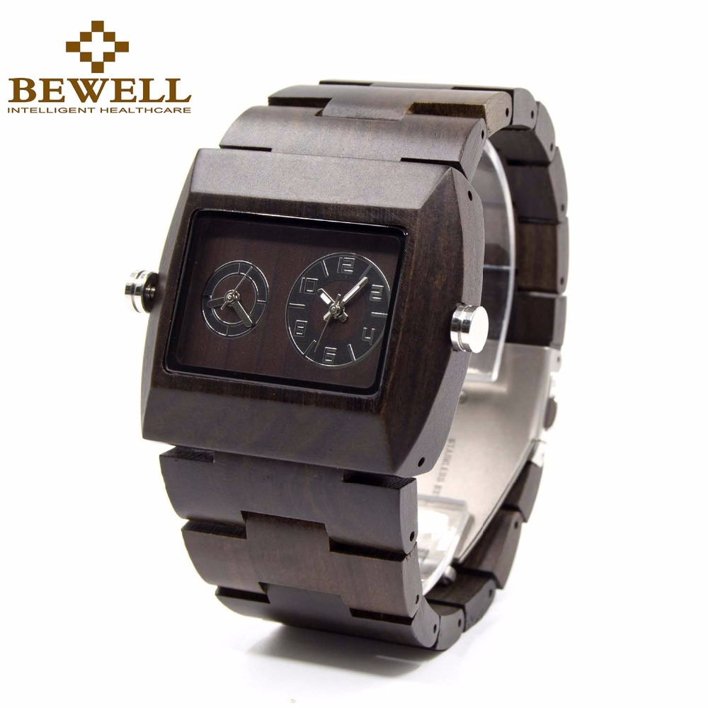BEWELL Wood Men Watch Japan Quartz Movement Double Dial Luminous hands Square Wristwatch Case Relogio 021C men quartz watches new fashion sport oulm japan double movement square dial compass function military cool stylish watch relojio