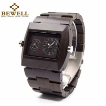 BEWELL Wood Watch Men Japan Movement Double Quartz Luminous Wristwatch Relogio 021C