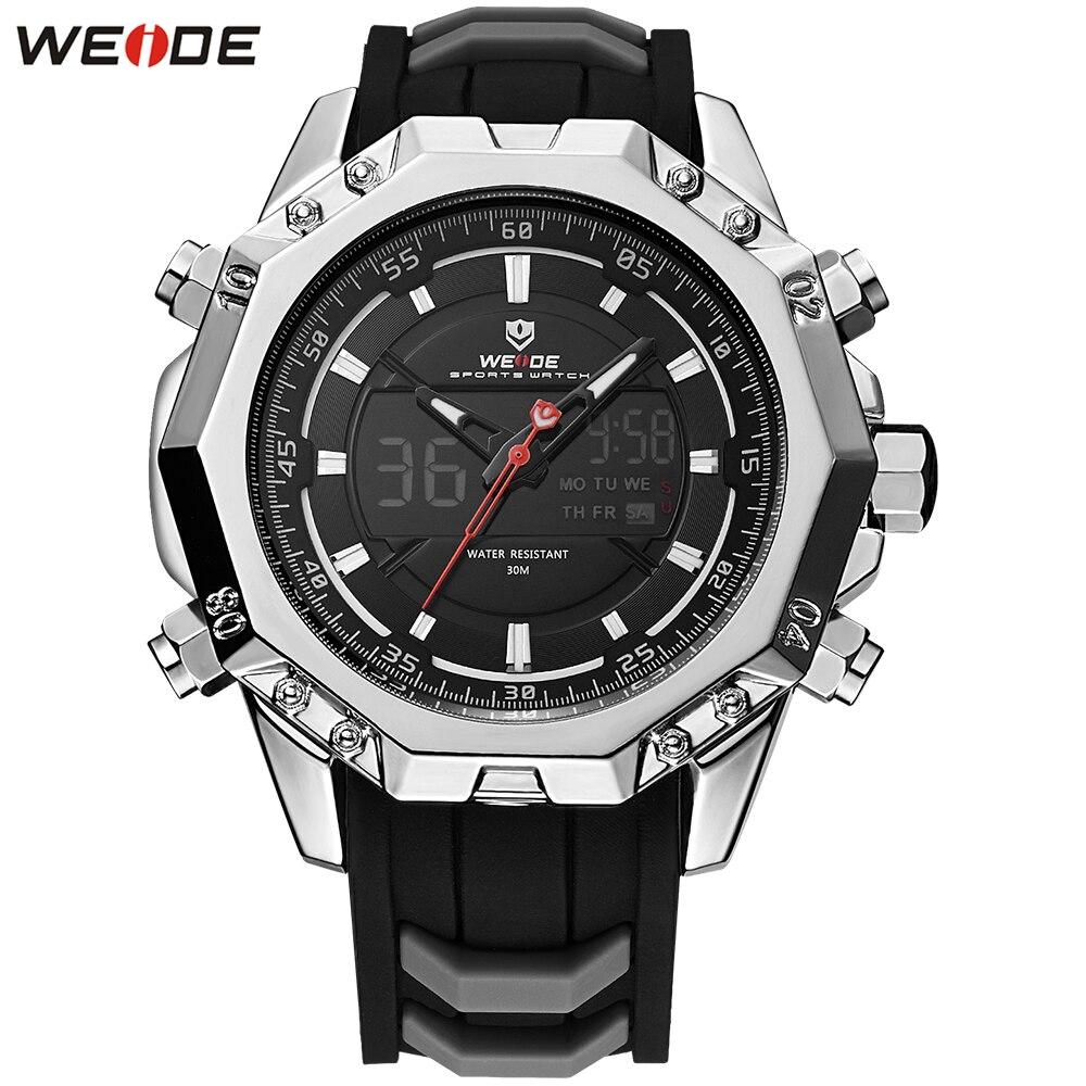 Original Fashion WEIDE Dual Time Man Watch Sport Watch Mens Digital Quartz Watch Men Silicone Strap Chronograph Wristwatch Clock все цены