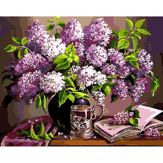 Black Flower Watercolor Art By Tae Lee: Aliexpress.com : Buy Frameless DIY Digital Oil Painting On