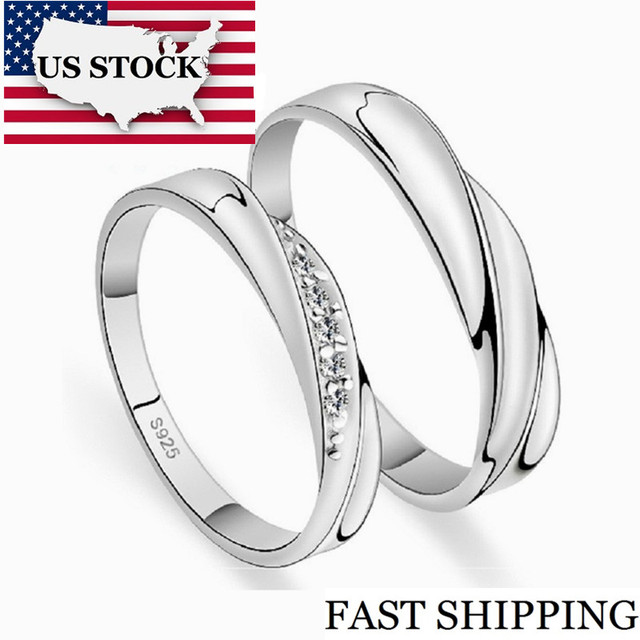 US STOCK 5% Off Weddings Couple Rings for Men and Women a Pair Love Silver Color Crystal Engagement Ring Jewellery Uloveido J293