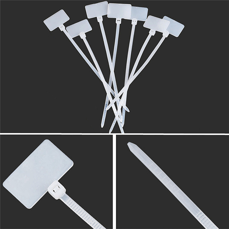 100Pcs Zip Ties Write Wire Power Cable Label Mark Tag Nylon Self ...