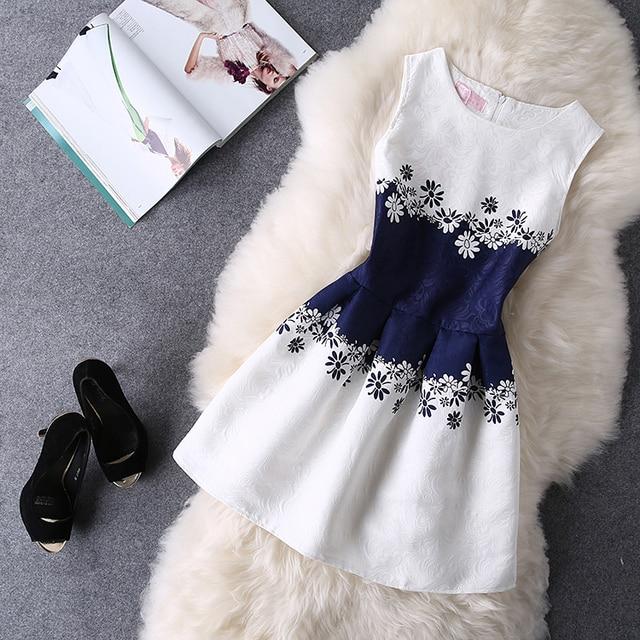 Os Recém-chegados Vestidos Verão 2017 O-pescoço Sem Mangas Impressão Vestidos Casuais Mulheres Roupas Das Senhoras Vestido de Festa Da Princesa Do Vintage