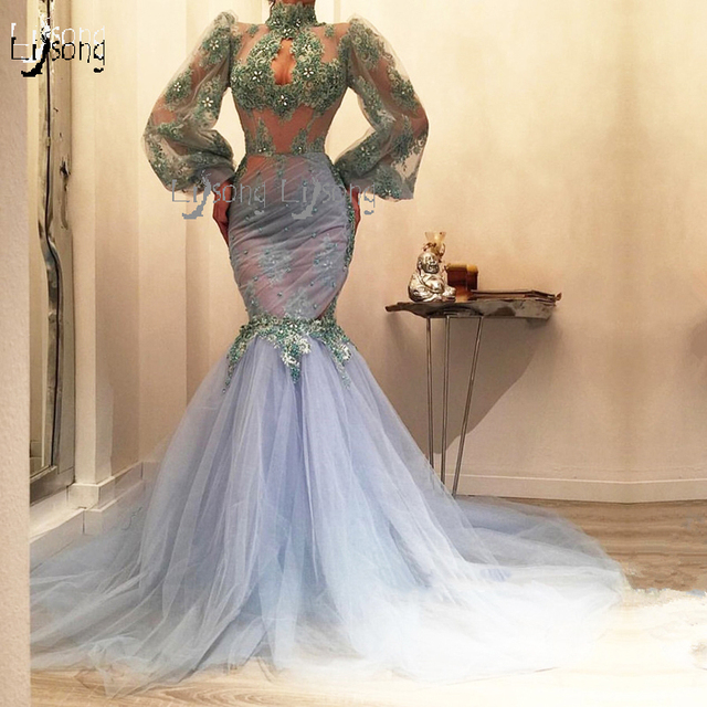 c3e8d9b776727c Special Design Lalic Lace Mermaid Prom Dresses 2019 With Puffy Full Sleeves  High Collar Sexy Seuiqned Long Prom Gowns Abiye