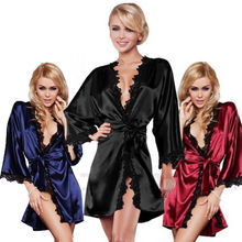 Women Nightdress Satin Lace Kimono Sleepwear Lingerie Dressing Gown Robe Babydolls Chemises Cotton Black White Blue Red