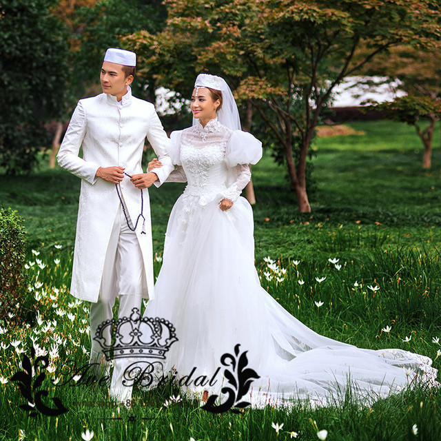Romantic Vintage Luxury High Neck Long Sleeve Lace Muslim Wedding Couple  Dress 2017 White robe de mariage for Plus Size