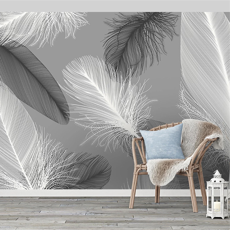 Nordic Style Black And White Feather Mural Wallpaper 3D Abstract Art Living Room Bedroom Home Decor Wall Papers Papel De Parede