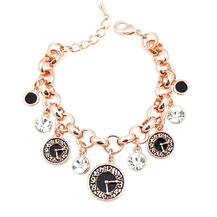 Female models in Europe and America retro alarm clock rhinestone chain bracelet Charm Bracelet W019 crude table