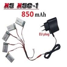 850 mAh 3.7 V LiPo Batería + Euro Plug Cargador de red para SYMA X5C X5C-1 X5 X5SC X5SW H9D H5C RC Drone Quadcopter Batería de Repuesto Partes
