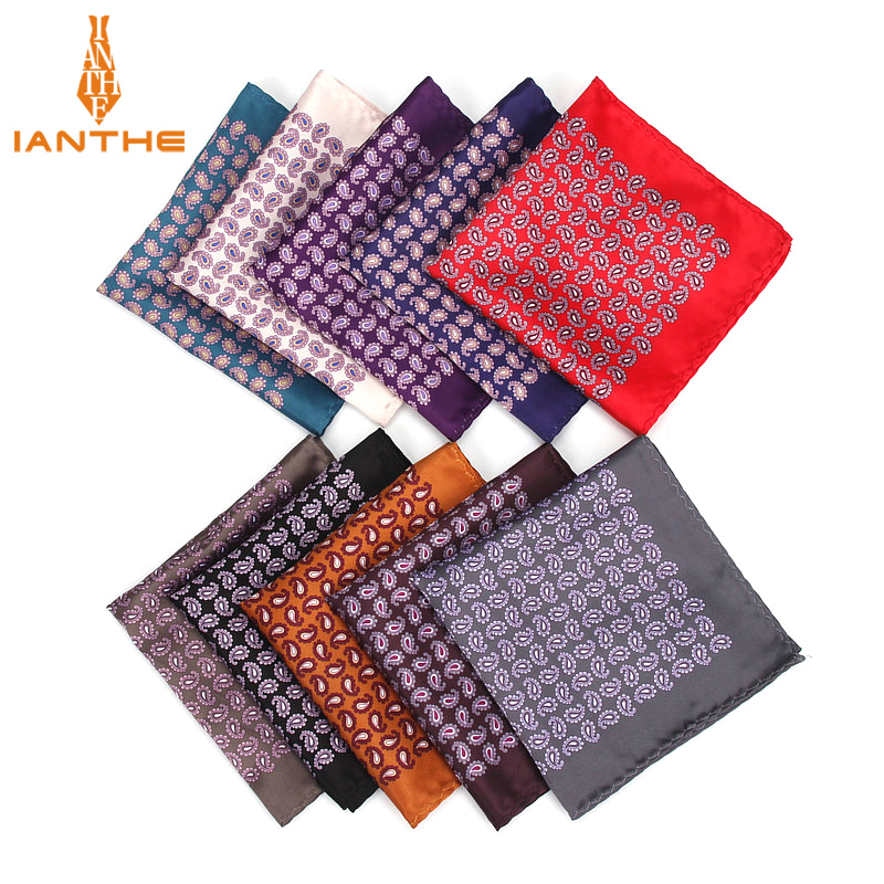 Men's Handkerchief Vintage Paisley Print Pocket Square Polyester Silk Soft Hankies Wedding Party Business Chest Towel Hanky Gift