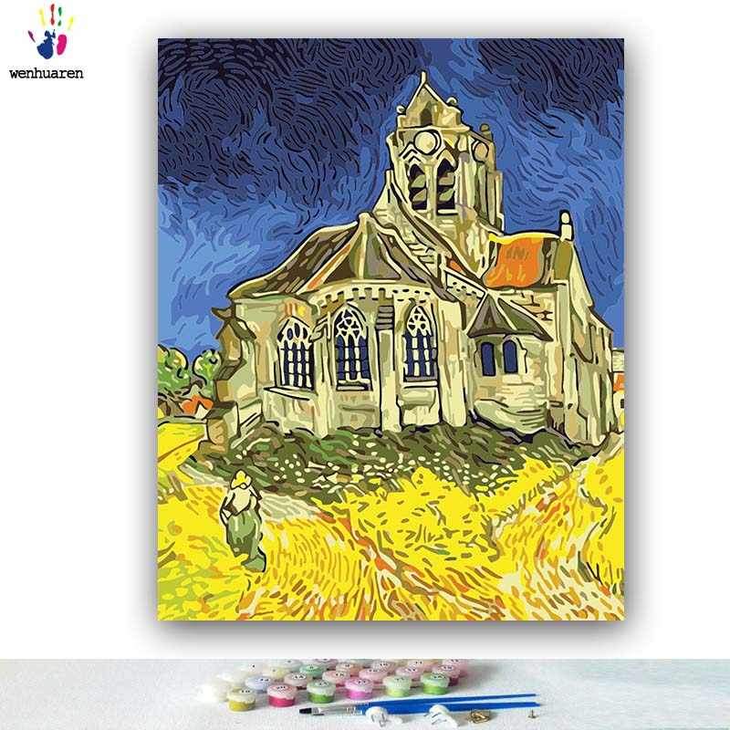 DIY Coloring paint by numbers Church of Van Goghville pictures Abstract figure paintings by numbers with kits 40x50 framed
