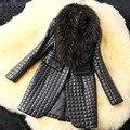 2016 новый осени зимы женщины Искусственной Кожи травы пальто, Женщины Искусственного меха куртка, женская мода последние марка, женщина длинные пальто XQ053