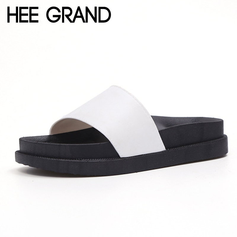 HEE GRAND Summer Flat Slides 2017 Casual Platform Shoes Woman Solid Slippers Slip On Flats Beach Creepers XWZ3711 hee grand summer gladiator sandals 2017 new platform flip flops flowers flats casual slip on shoes flat woman size 35 41 xwz3651