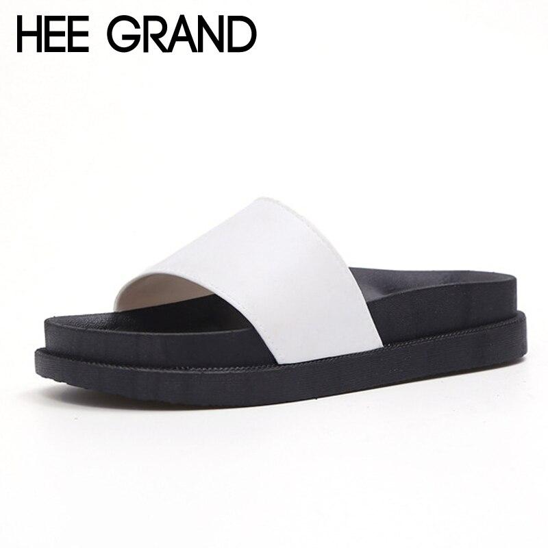 Hee Grand/летние Направляющие 2017 повседневная женская обувь на платформе одноцветное Шлёпанцы для женщин слипоны Туфли без каблуков пляжные ли...