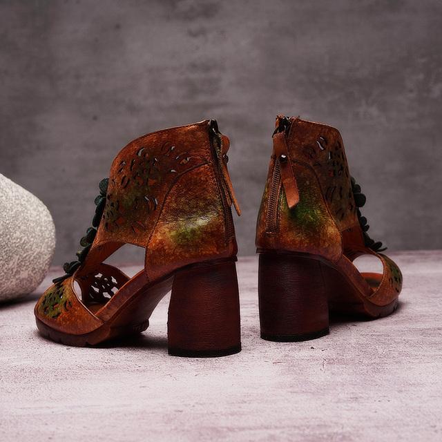 Women's Genuine Leather Heel Flower Pump Sandals With Zipper