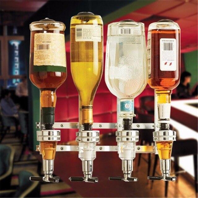Wall Mounted 4 Station Liquor Wine Dispenser Machine Bar Butler Drinking Pourer Home Bar Tools