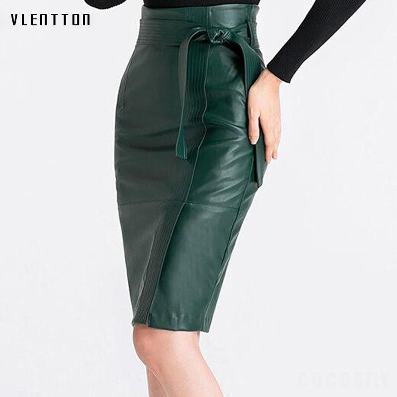 2018 Весенняя кожаная женская юбка, осенняя зимняя сексуальная юбка из искусственной кожи с высокой талией, Женская офисная юбка карандаш размера плюс 4XL