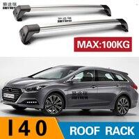 2 pcs For HYUNDAI i40, 5 dr Estate, 2011 roof bar car special aluminum alloy belt lock Led shooting ROOF RACK CORSS rack