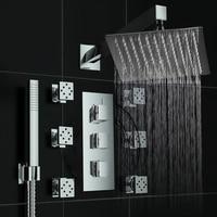 BECOLA стены душевая панель с термостатом 10 дюймов нержавеющая сталь Дождь большой насадки для душа ванная комната кран Набор Латунь массаж сп