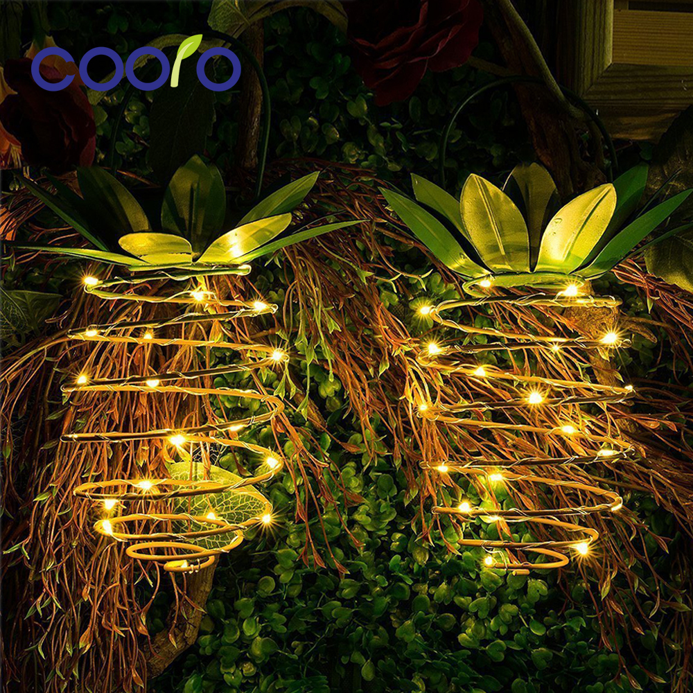 LED String Garland Christmas Fairy Light Hangable Pineapple Solar Powered Lamp IP45 Home Garden Party Outdoor Holiday Decor 2pcs Лосины