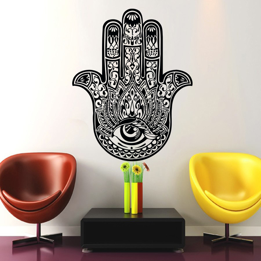 Main De Fatma Decoration Murale Hot Sale Fatima Hand Hamsa Wall Sticker Indian Buddha Home Decor