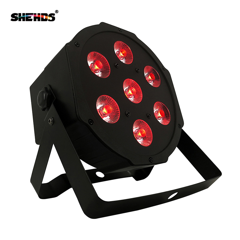 Free Shipping Best New Flat LED Par 7X12w/7X18W RGBW Quad Stage Wash Light DMX512 Controller DJ Equipment Disco Night Club Show