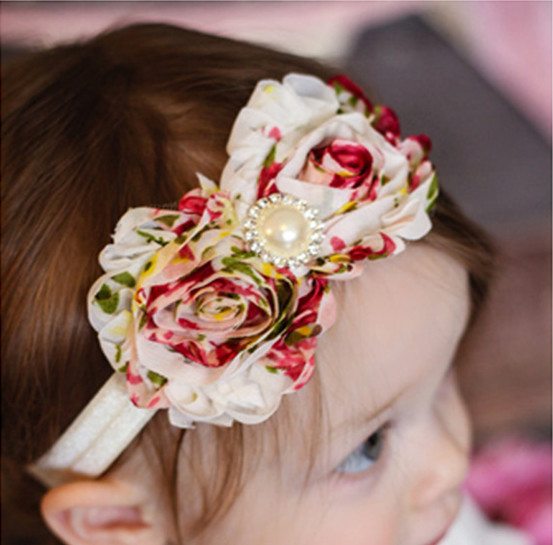 36Colors Fashion Hot children kids Baby girls 2 Pearl Fringed Flowers Headband Headwear Hair Band Head Piece Accessories w108-1