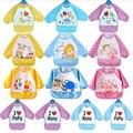 13 Desenhos de Moda À Prova D' Água Crianças bibs Manga Longa Para O Almoço Dos Desenhos Animados do bebê bib do bebê roupas Roupas à prova d' água 3 Cores