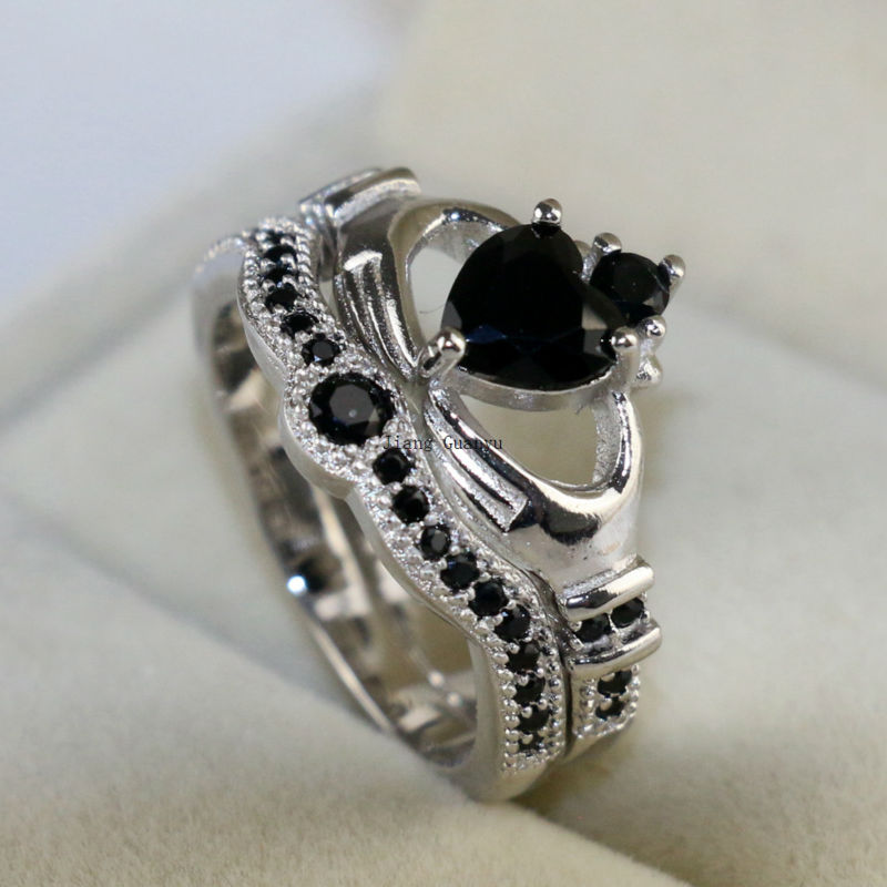 Claddagh Ring White Gold Filled Heart Black Zircon Wedding Band