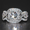 2 Carat ct 3 Pieces DEF Princess Cut Lab Grown Moissanite Diamond Ring Set With Diamond Accents 14K 585 White Gold