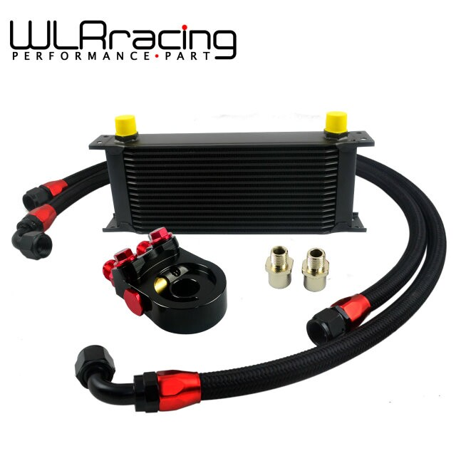 WLR- Universal 16ROWS OIL COOLER ENGINE KIT +AN10 oil Sandwich Plate Adapte with Thermostat+2PCS NYLON BRAIDED HOSE LINE BLACK zoomer ruckus fi nps50 black engine frame extend extension kit with handle post