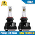 80W 16000LM 5202 9009 LED Headlight Conversion Kit High/Low Beam Bulb 5700-6000K Car Truck HID Replacement Super Bright Headlamp