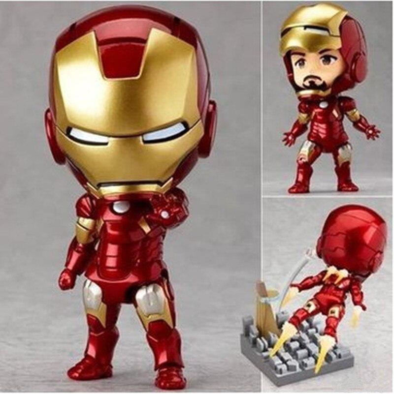 2016 New Super Hero Toys Q Version Movie Iron Man Figure Toys Mark 7 PVC Ironman Action Figure Kids Toys Dowin Gifts 50A 2017 new avengers super hero iron man hulk toys with led light pvc action figure model toys kids halloween gift