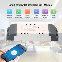 EWeLink умный переключатель Wi-Fi универсальный модуль 2CH постоянного тока/AC7-32V Беспроводной коммутатор Таймер Пульт дистанционного управления ...